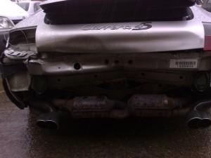 Porsche damaged