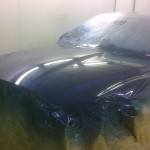 2. Jaguar bonnet painted in high solid clear over base