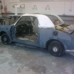 Figaro being prepped for paint