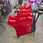 Seat with the rear bumper repaired and painted