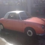 This Figaro came to us looking like. Dents,rust and dodgy paintwork.