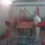 73. Two pack paint being applied to roll cage