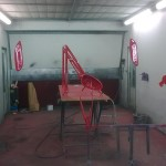74. Roll cage now painted and being baked in oven